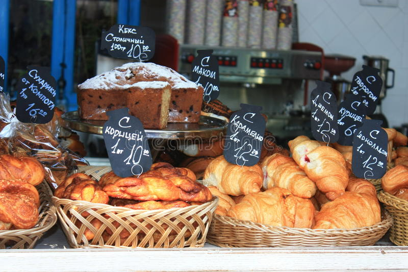 Variety of fresh pastry and cakes stock photos