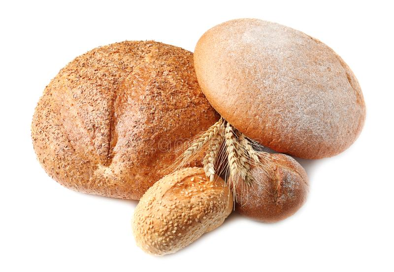 Variety of fresh tasty bread. On white background royalty free stock image