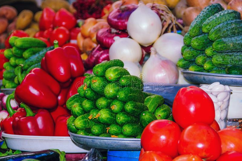 Variety of fresh vegetables on the marketplace. royalty free stock photo