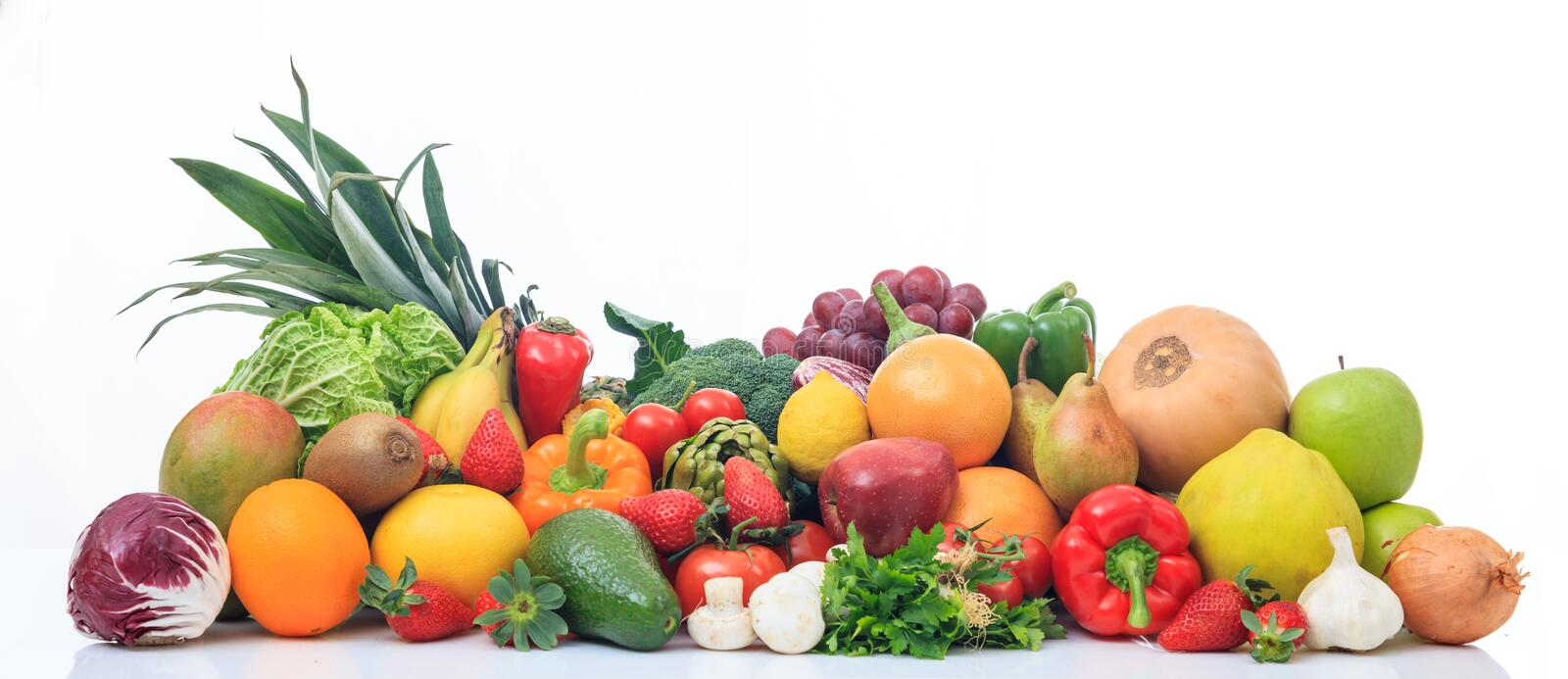 Variety of fruits and vegetables on white background. Variety of fresh fruits and vegetables on white background stock photos