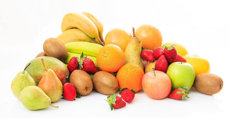 Variety of fruits on white background. Variety of fresh fruits on white background stock photo