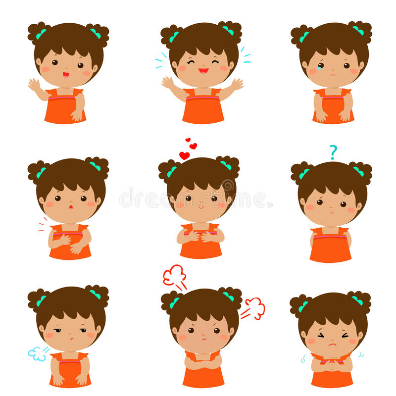 Variety girl face expression illustration. Set of cartoon kid emotions on white background. Variety girl face expression illustration vector illustration