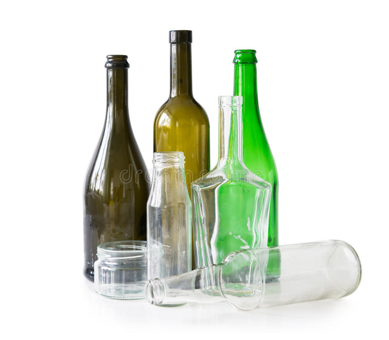 Variety of glass bottles and jars stock photos
