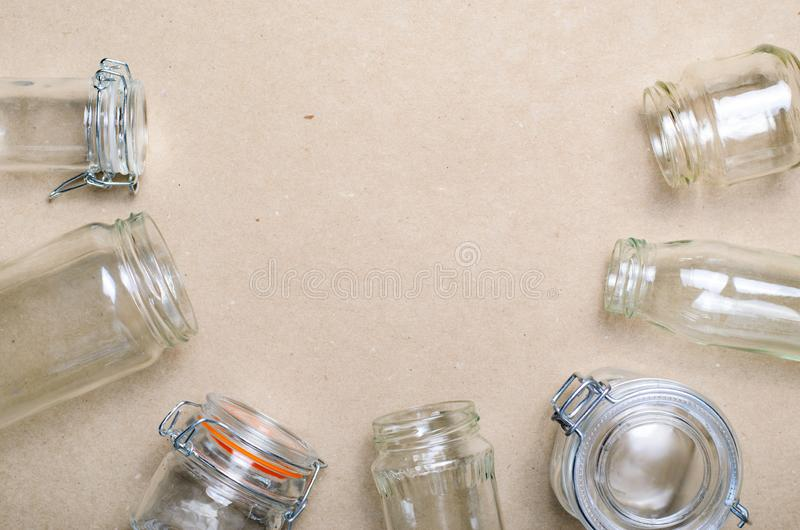 Variety of Glass Jars and Bottles, Zero Waste Shopping Concept stock photography