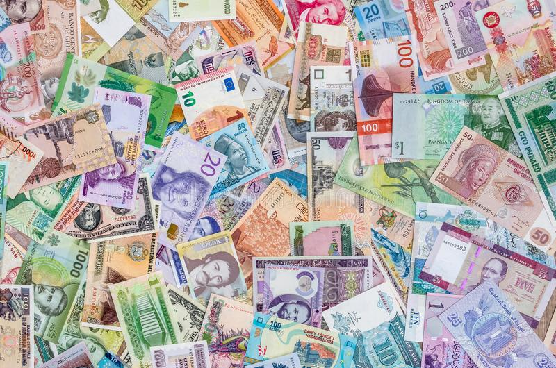Variety of global banknotes, money collection, currencies royalty free stock image