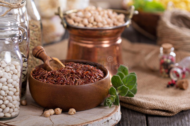Variety of grains and beans stock photos