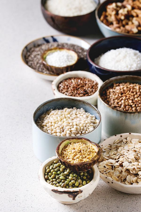 Variety of grains stock image