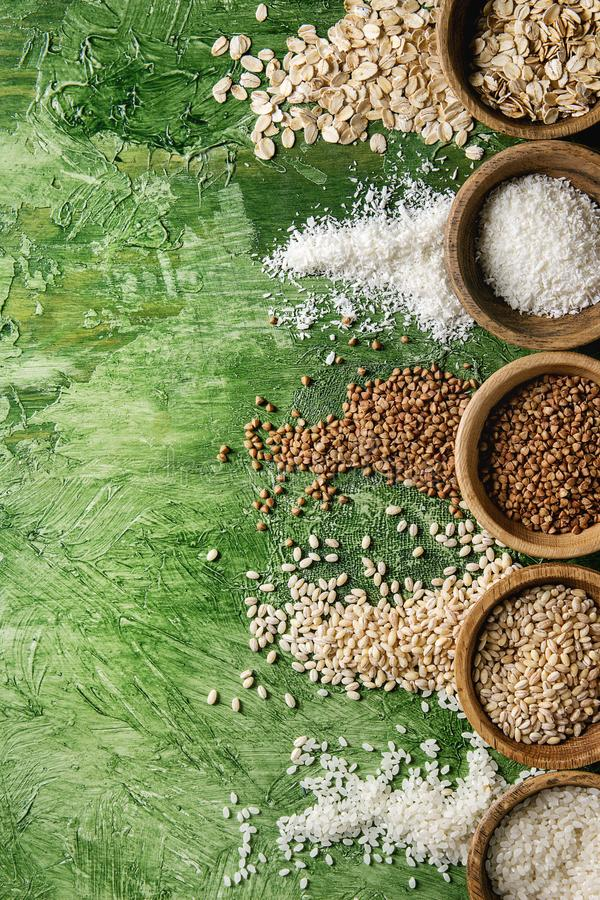 Variety of grains stock photography