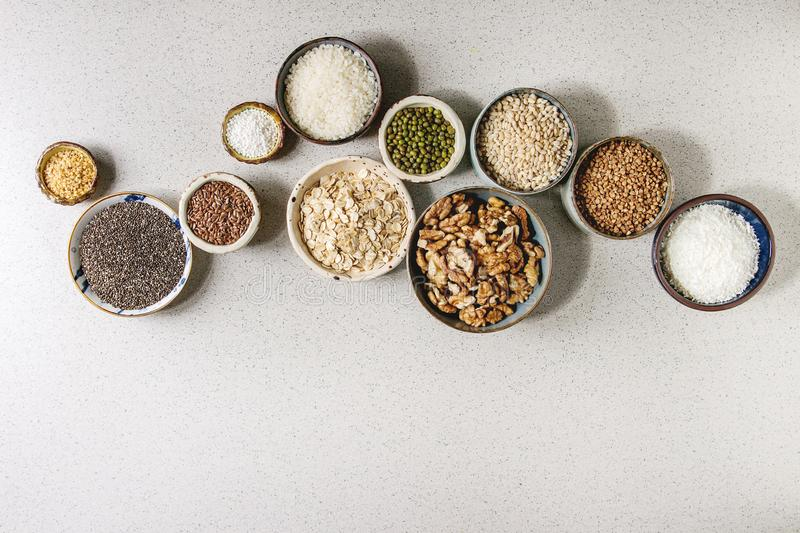 Variety of grains stock images