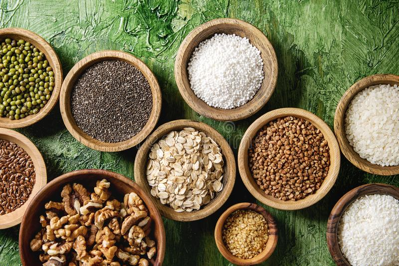 Variety of grains royalty free stock photo
