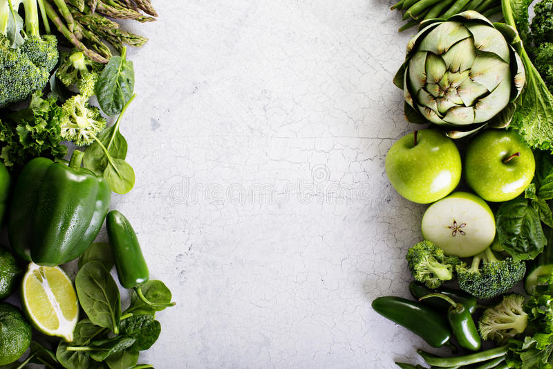 Variety of green vegetables and fruits royalty free stock photo