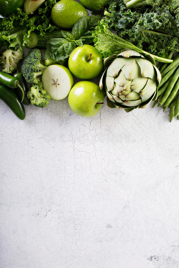 Variety of green vegetables and fruits royalty free stock photography
