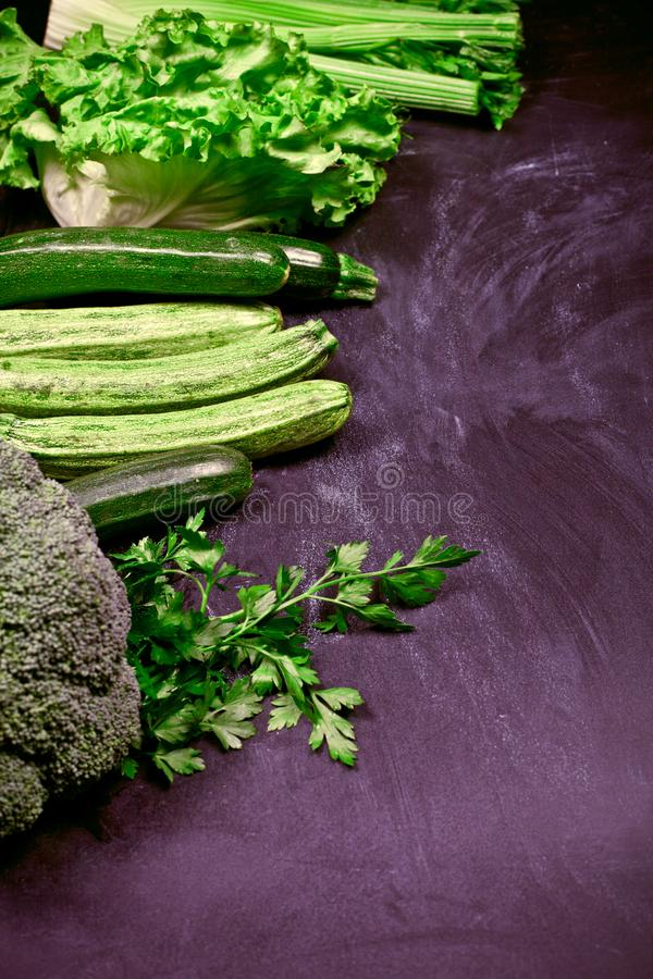 Variety of green vegetables stock photography