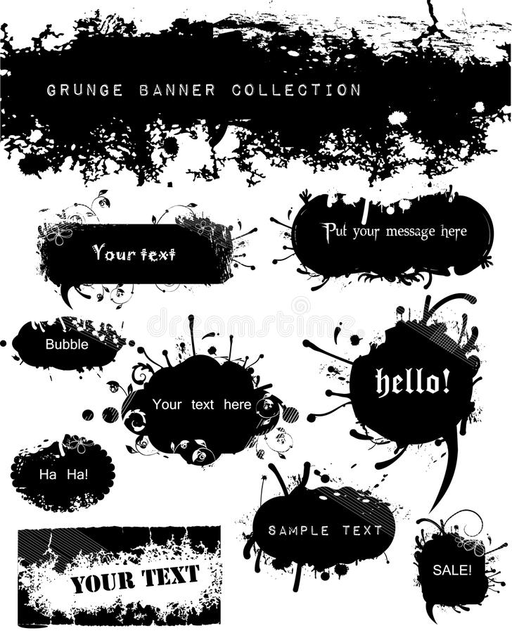 Variety of Grungy and Floral Banners. This file is available both as jpeg and vector. The vector file is easy to edit with objects clearly grouped separately