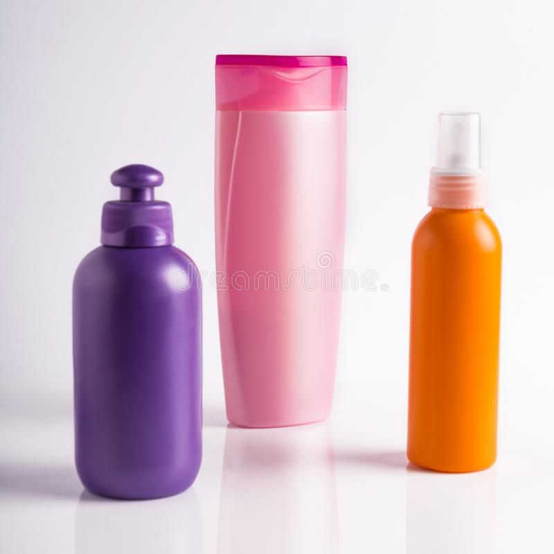 Variety of Hair product Shampoo Hair Conditioner gel mousse stock images