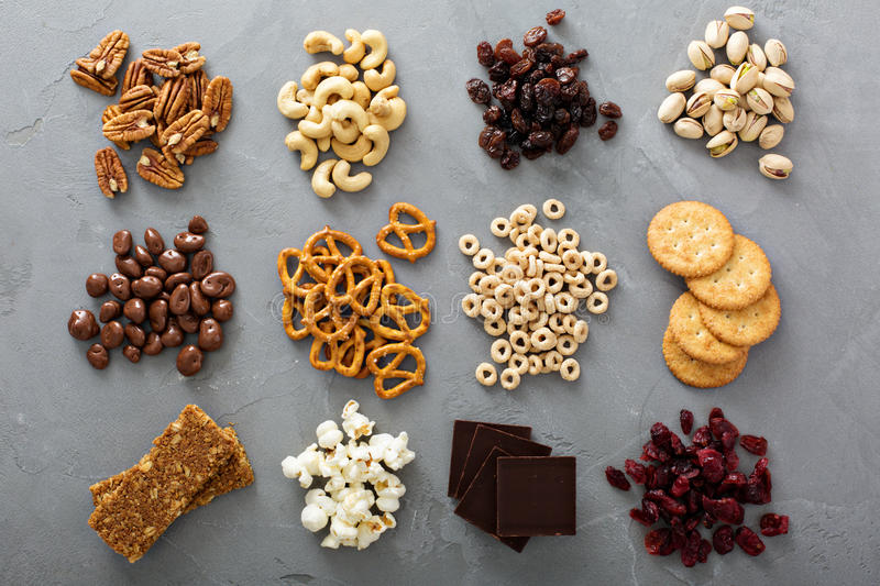Variety of healthy snacks overhead shot. Laying on the table stock photography