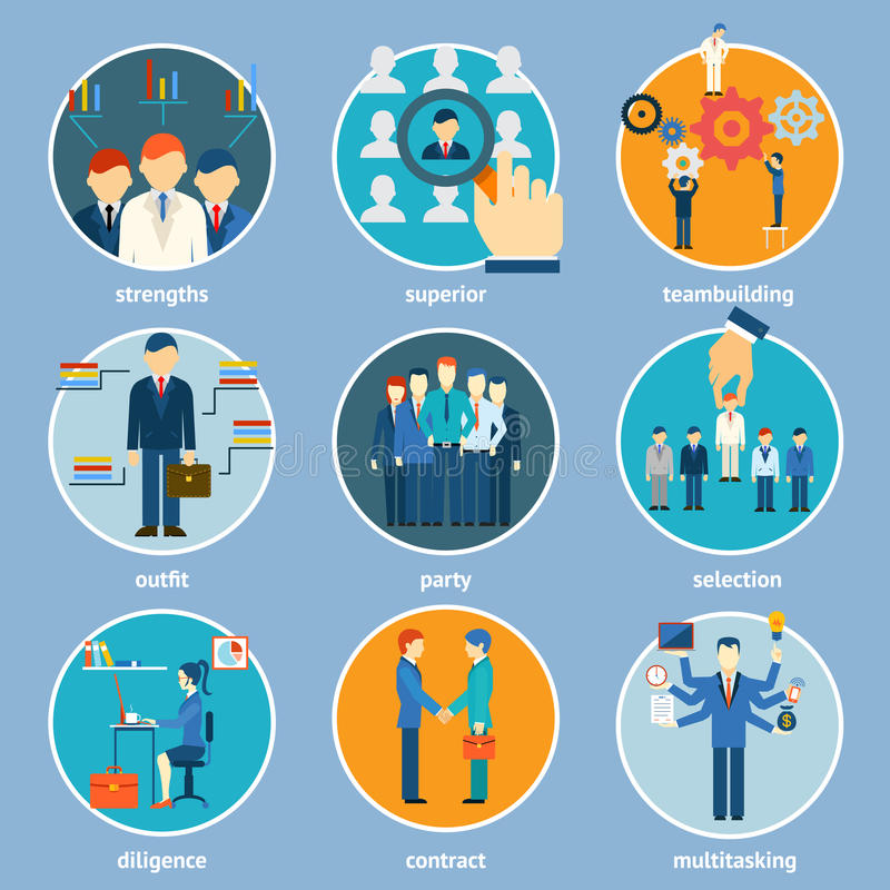 Variety Human Resource Icons stock illustration