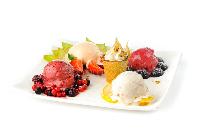 Variety of ice creams. A variety of ice creams on a rectangular plate royalty free stock images