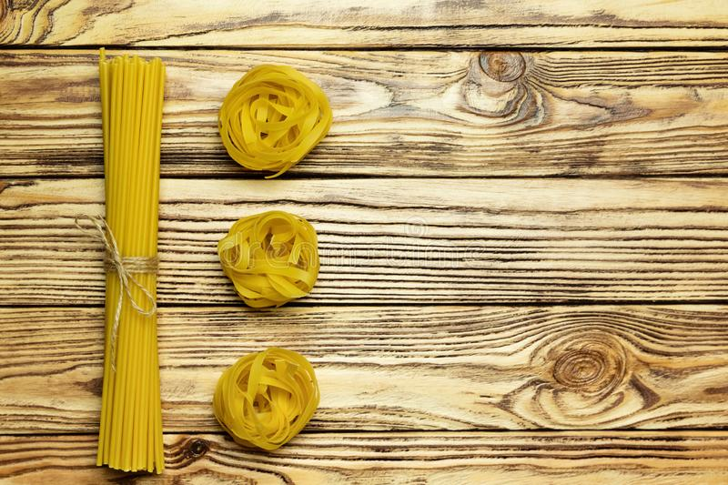 Variety of italian pasta. Plenty of space for text. royalty free stock photo