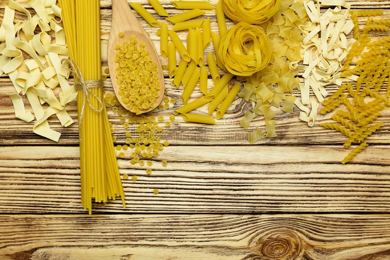 Variety of italian pasta. Plenty of space for text. royalty free stock photos