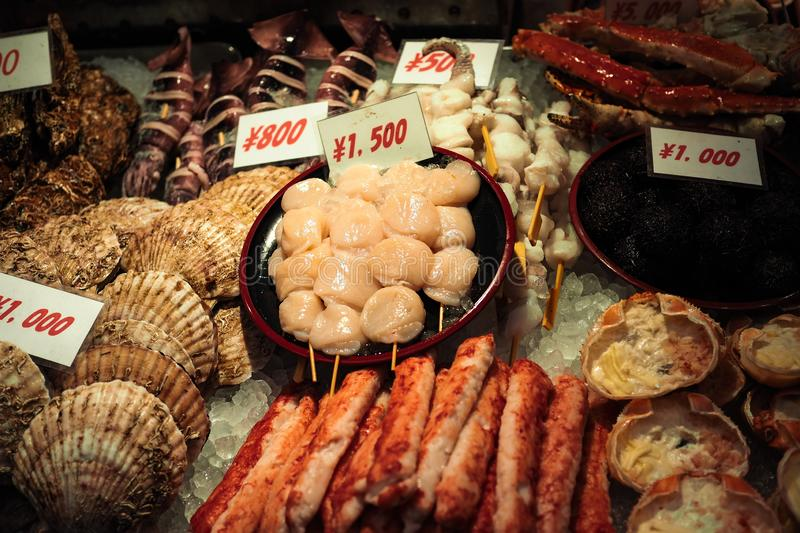 Variety of Japanese seafood on crushed ice royalty free stock photography