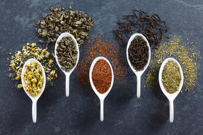 Variety of Loose Dried Tea Leaves royalty free stock images