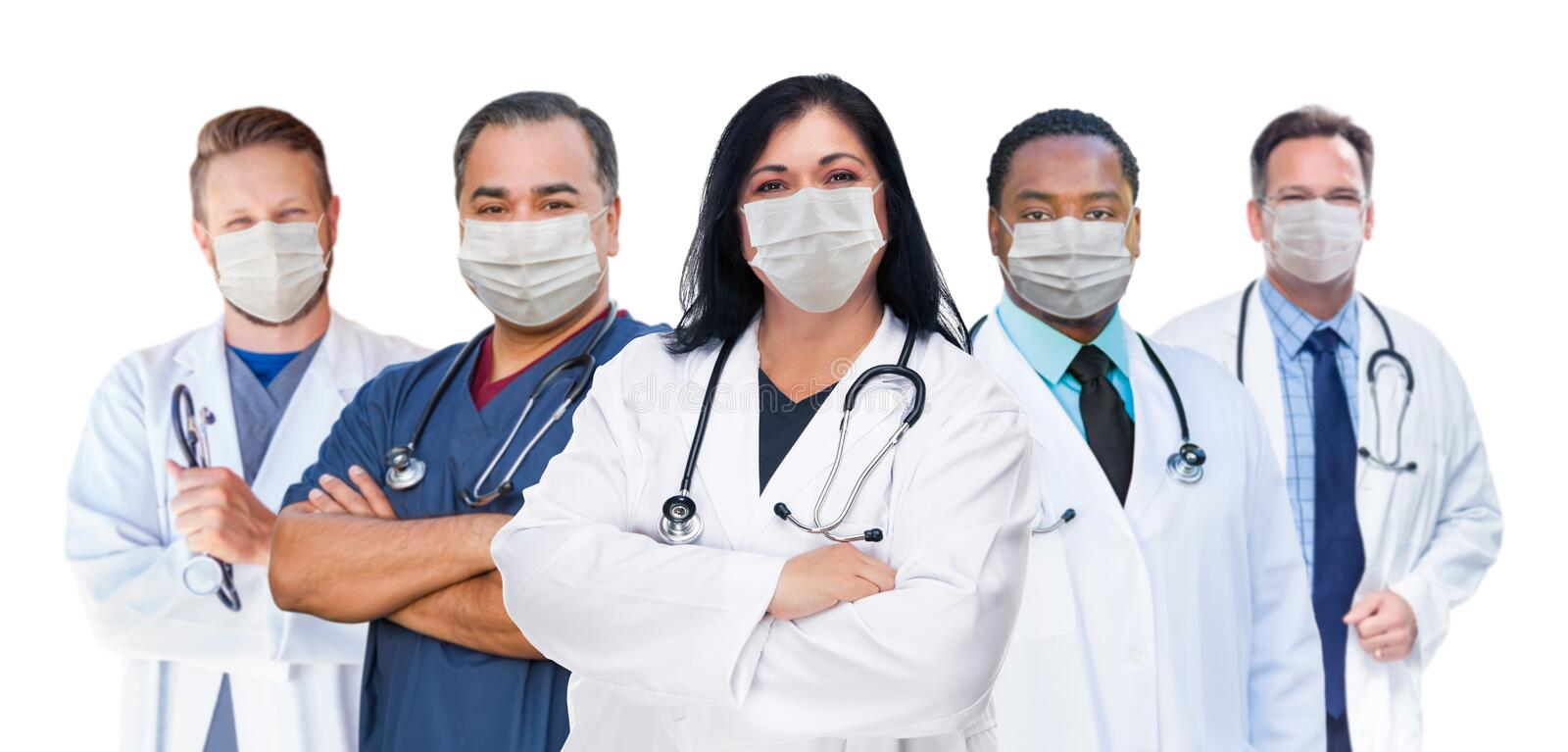 Variety of Medical Healthcare Workers Wearing Medical Face Masks Amidst the Coronavirus Pandemic. Variety of Diverse Medical Healthcare Workers Wearing Medical stock photos