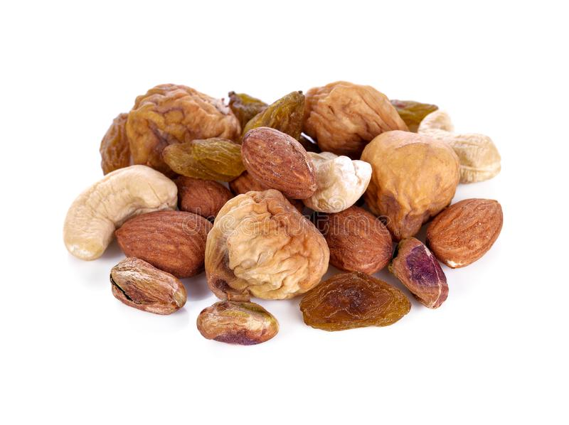 Variety of Mixed Nuts Isolated on White royalty free stock photo
