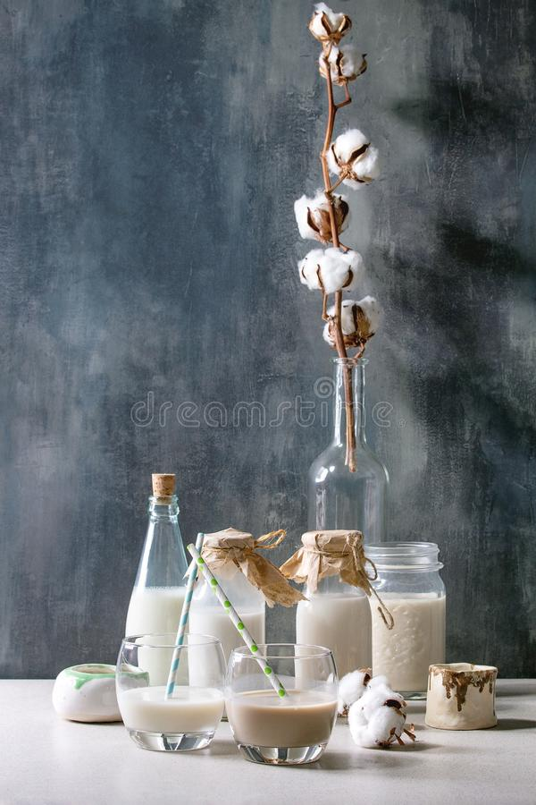 Variety of non-dairy milk. Variety of non-dairy vegan lactose free nuts and grain milk almond, hazelnut, coconut, rice, oat in glass bottles with cotton flowers royalty free stock photo