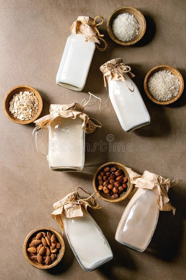 Variety of non-dairy milk. Variety of non-dairy vegan lactose free nuts and grain milk almond, hazelnut, coconut, rice, oat in glass bottles with ingredients royalty free stock photography