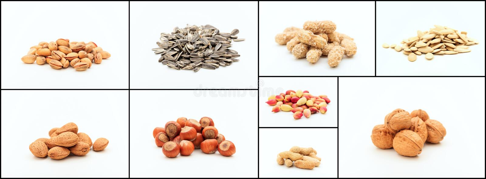 Variety of nuts collage stock photo