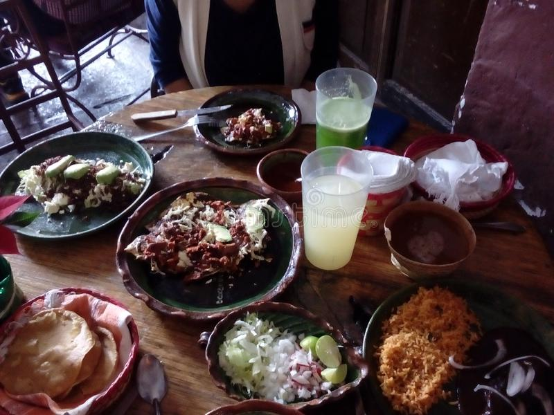 Variety of Oaxacan food dishes stock photos