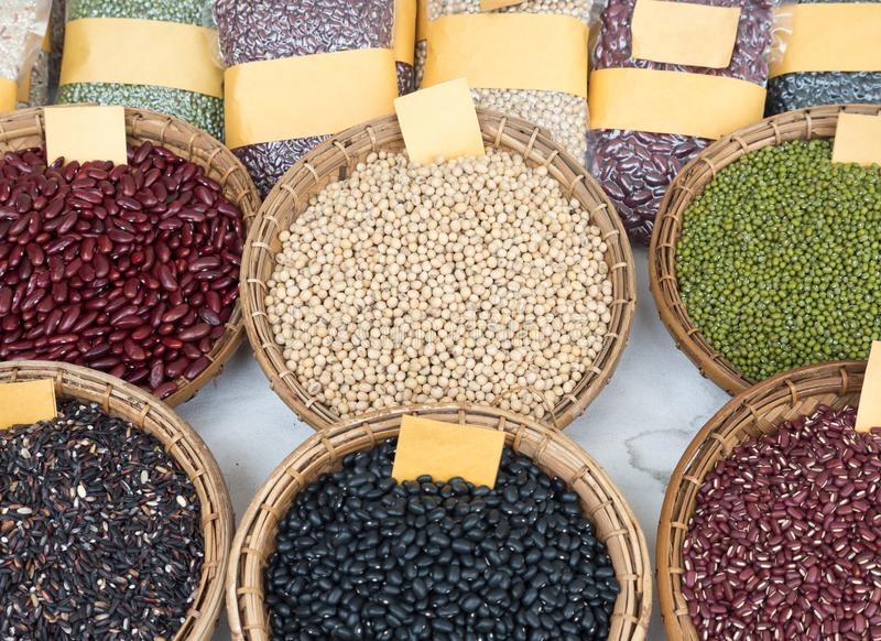 Variety of the organic whole grains. stock image