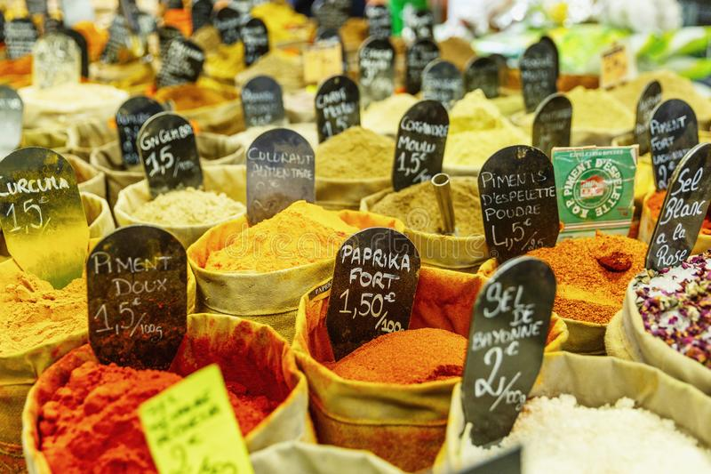 A variety of oriental condiments on the counter in the market royalty free stock photo