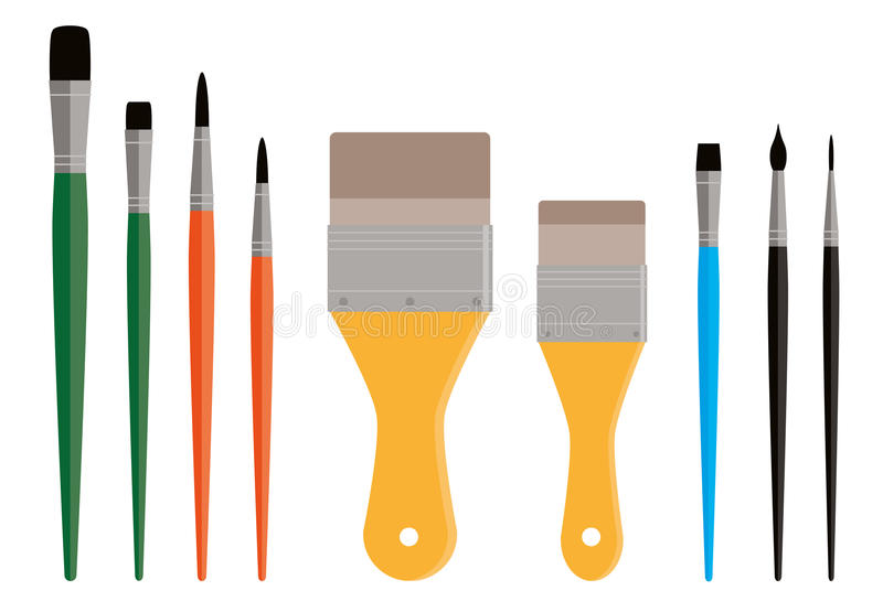 Variety of Paint Brushes stock illustration