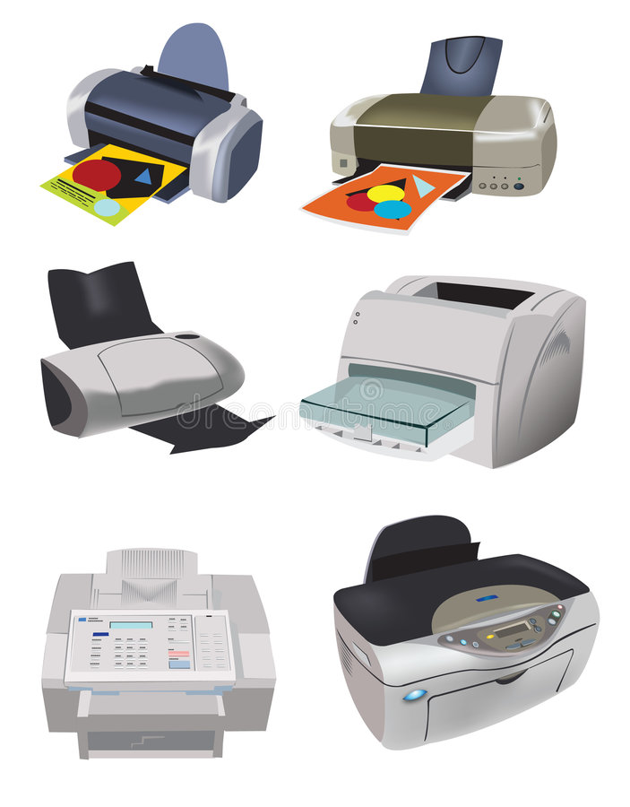 Variety of Printers. An illustrated background showing a set of 6 printers with different designs, isolated on a white background