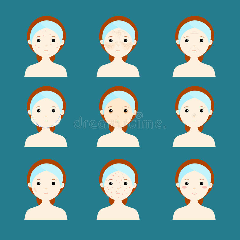 Variety problem skin women face stock illustration