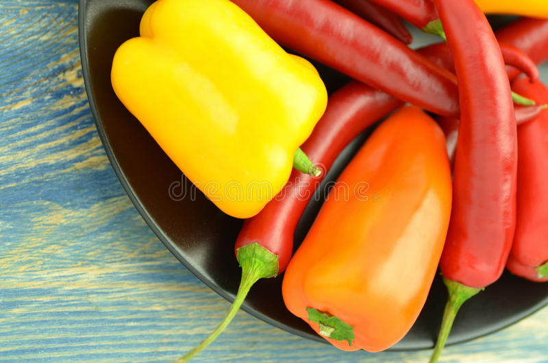 Variety of raw peppers royalty free stock image