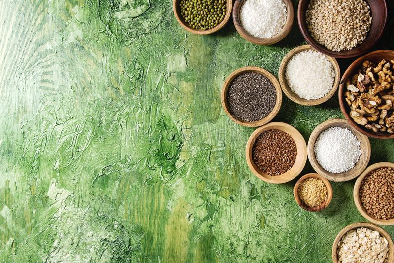 Variety of grains royalty free stock photos