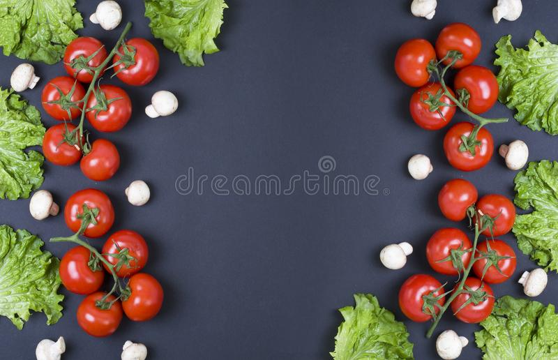 Variety of raw vegetables, culinary concept. Assortment of vegetables and herbs on grey stone background. Different raw vegetables stock photography
