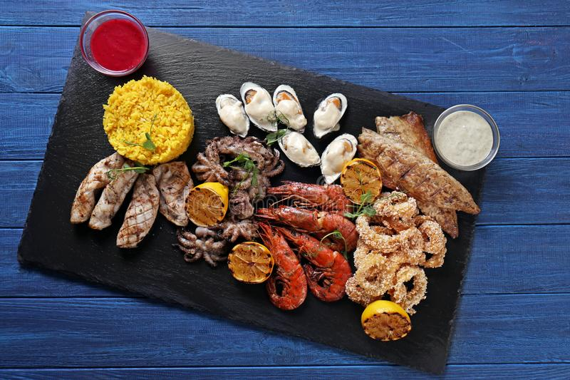 Variety of seafood with rice stock photo