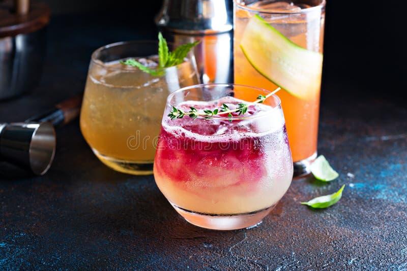 Variety of seasonal cocktails royalty free stock photo