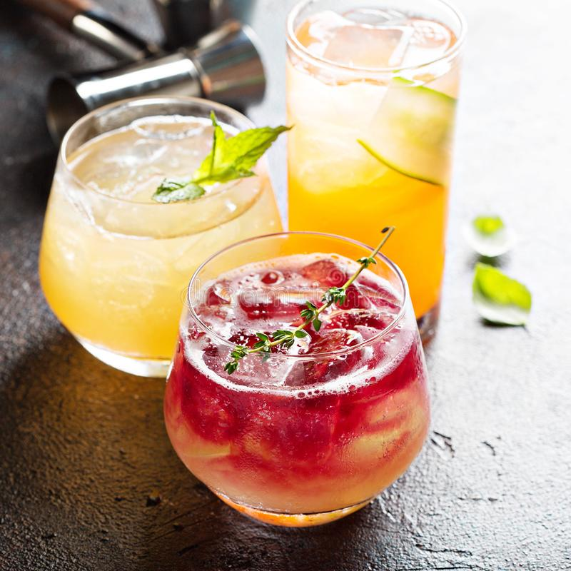 Variety of seasonal cocktails royalty free stock photography