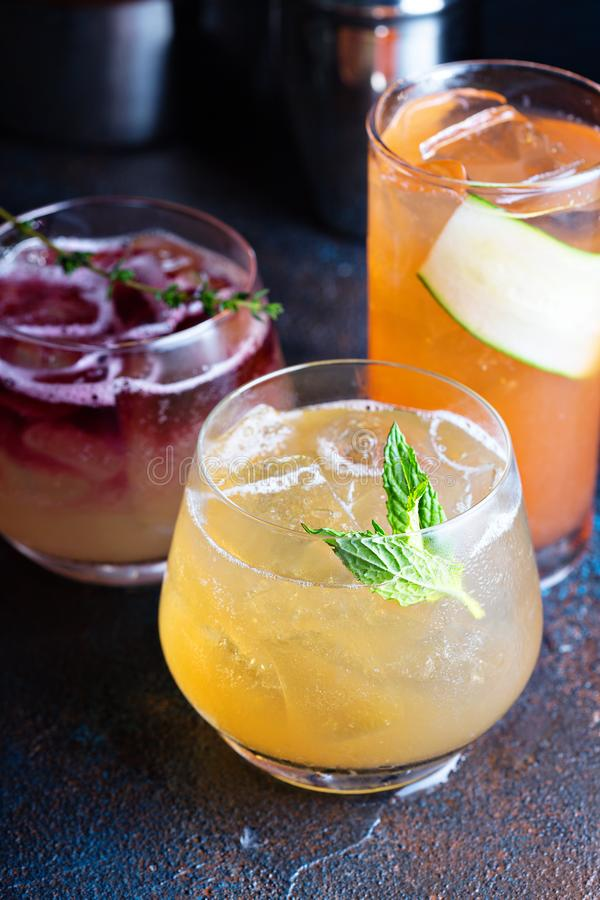 Variety of seasonal cocktails stock photos