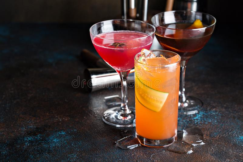 Variety of seasonal cocktails stock photography