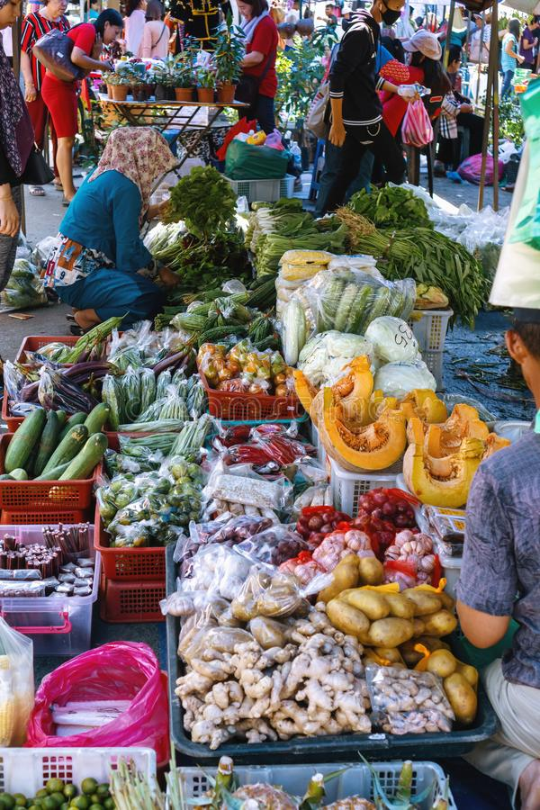 Variety selection of Vegetables at Tamu Tuaran Street Market royalty free stock image
