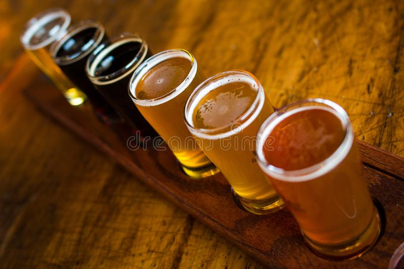 A variety set of craft beers light and dark. On the table royalty free stock photos