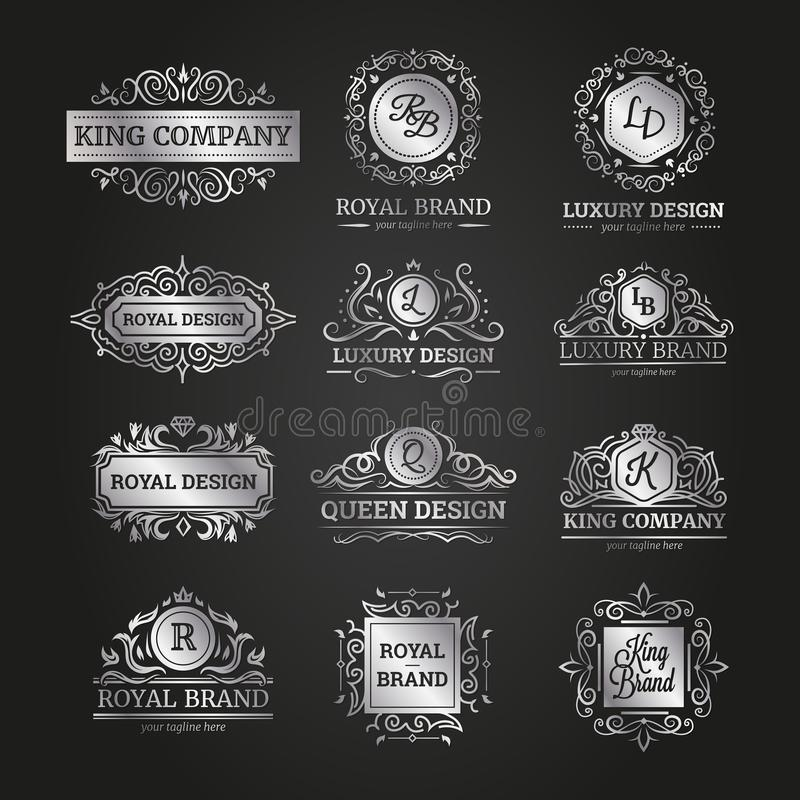 Variety of silver frames set stock illustration