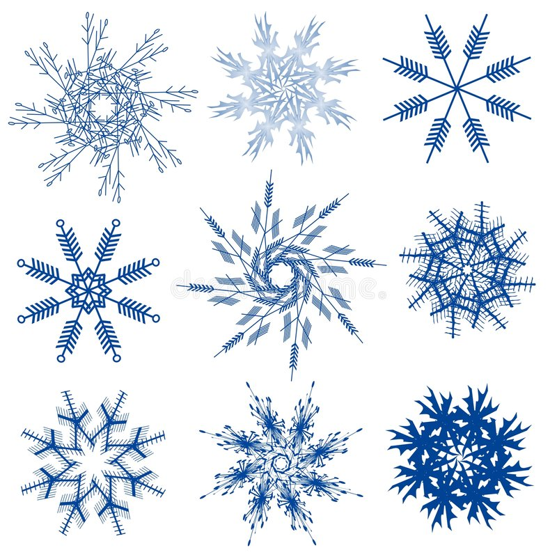 Variety Of Snowflakes Clip Art Stock Photography