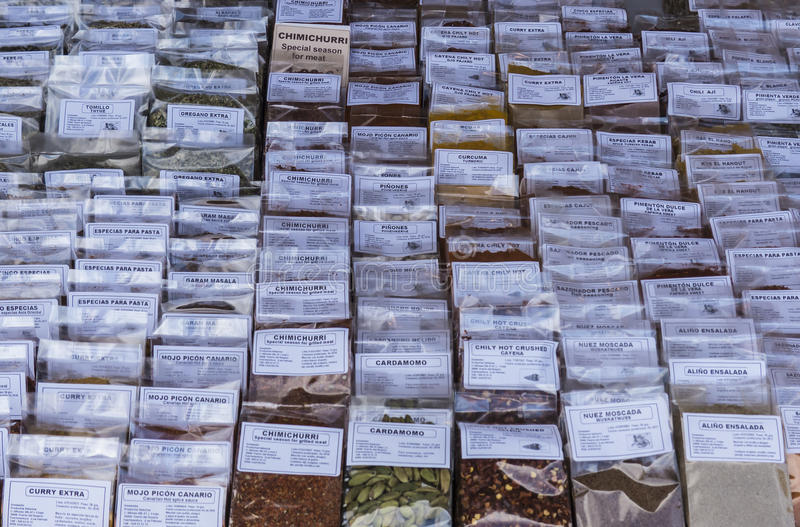 Variety of spice displayed. royalty free stock image